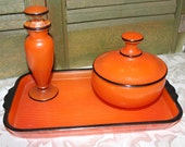 Vintage Art Deco vintage painted enamel glass vanity set - Powder dish - Perfume Bottle