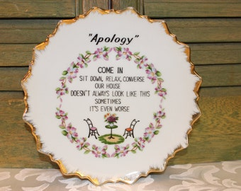 """Vintage """"Apology"""" Decorative Wall Plate"""
