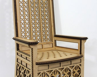BJD  Stately Throne, majestic, gothic, regal, READY-MADE, 1:3 scale (un-painted mdf))