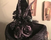 Witch Hat black ridged Feathers, Spider Web lace, Substantial