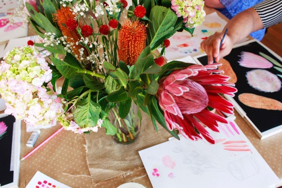 Botánicos de Sydney de septiembre y plantas pintura taller - Domingo, 18 de septiembre de 2016. Flores nativas. Pintura óleo Floral de la planta