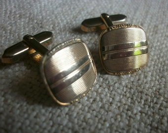 Vintage French Cuff Links 1950s Boutons de Manchettes Wedding Mariage Silvertone