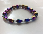 Magnetic Rainbow Hematite Stretch Bracelet