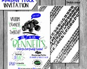 Monster truck Invitation, Truck invites, Monster truck party, Truck Birthday Invitations, Printable Monster invite