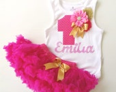 Hot Pink and Gold First Birthday Girl's Personlaized Party Outfit