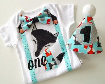 Fox Woodland Theme Baby Boy's First Birthday  1st birthday Outfit Boys Bodysuit
