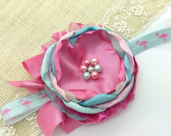 Flamingo headband, girls headband, baby headbands, toddler headbands, pink and blue headbands, flower headbands