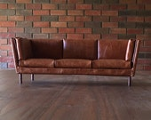 """1:6 Scale Brown Leather Sofa for 12"""" Action Figures or other 12"""" Dolls like Barbie Blythe Momoko"""