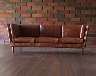 "1:6 Scale Brown Leather Sofa for 12"" Action Figures or other 12"" Dolls like Barbie Blythe Momoko"