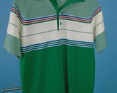 1970s JC Penney's Ban-Lon Knit Polo Shirt Medium Striped Green/White/etc..
