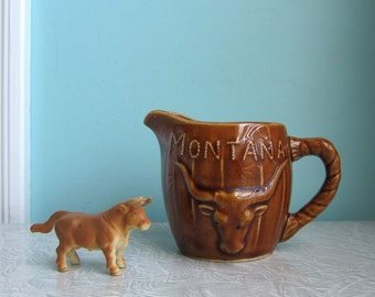 Vintage Montana Souvenir Cream Pitcher, Montana Creamer, Montana Souvenir, Longhorn, Bucking Bronco, Montana Collectible, Big Sky Country