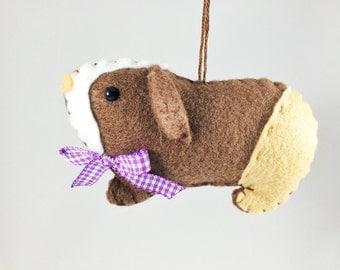 Guinea Pig Ornament - Personalized Ornament - Felt Guinea Pig - Guinea Pig Christmas Ornament - Guinea Pig Gift