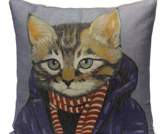 Cats In Clothes Pillow Cover - Brewster - Painting by Heather Mattoon