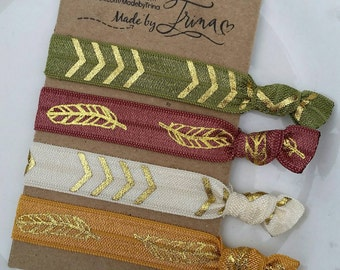 FALLING FEATHERS olive, marsala, ivory and gold hair tie bracelet set