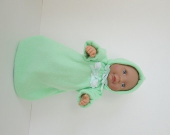 """10-12"""" Mint Green Bunting and Hood Set"""
