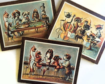 SET of 3 Prints Dogs Playing Poker + Jazz Cats & Doggies at the Bar! Vintage 1960s 60s MCM Mid Century Modern Big Eye Eyed Animals Wall Art
