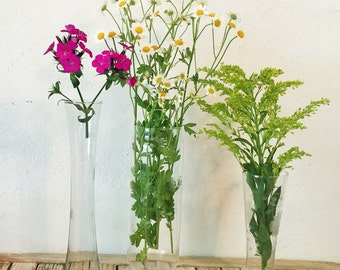 Set of 3 Vintage Vase Etched Glass