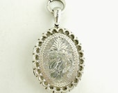 REDUCED Antique 1880s American Sterling Silver Quality Engraved Locket Victorian Era with Maker's Marks