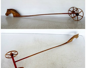 Antique Hobby Stick Horse with Wheels Primitive Wood Handmade