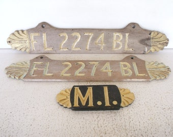 "27"" Vintage Wooden Boat Registration Number Plates Handmade Nautical Decor Florida"