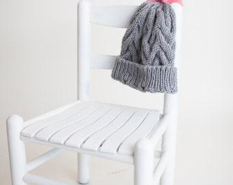 Fur pompom hat pattern, knitting fur hat pattern, pompom hat pattern, knitting pattern for pompom hat, faux fur pompom hat pattern