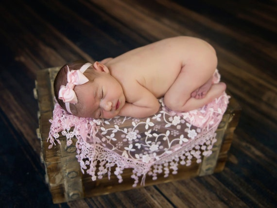 Pink Ribbon Bow AND/OR matching lacey fringe swaddle wrap for newborn photos, photographers, by Lil Miss Sweet Pea
