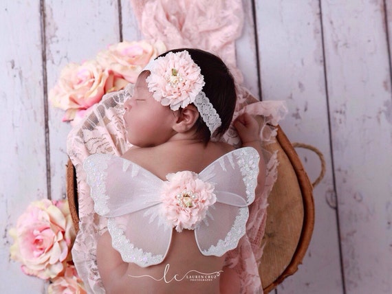 White Baby Butterfly Wings with a Peach Ruffle Shabby Flower and Matching Flower on a Stretch Lace Headband by Lil Miss Sweet Pea