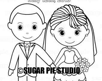 printable personalized wedding coloring activity book favor kids 85 x 11 pdf or jpeg template - Wedding Coloring Book
