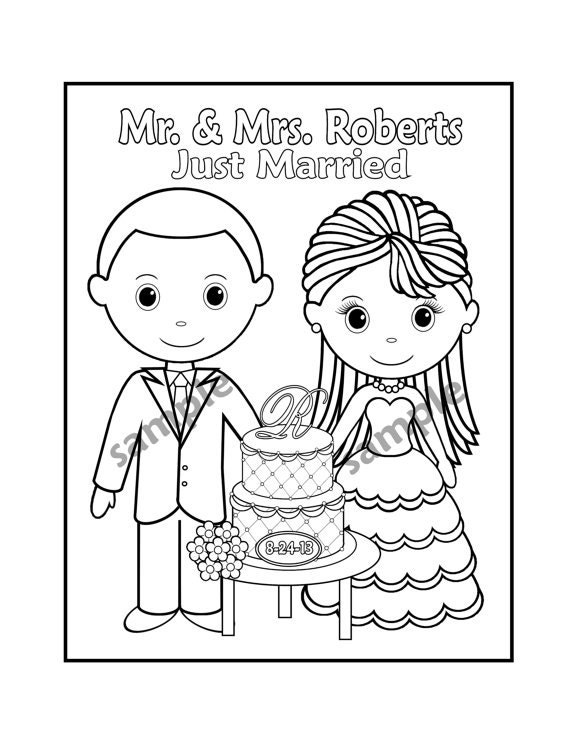 Dynamic image pertaining to printable wedding coloring pages
