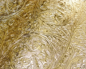 """RESTOCKED Leather 12""""x12"""" GOLD Metallic Western CIRCLE Cowhide 2 oz/0.8 mm PeggySueAlso™ E2812-03"""