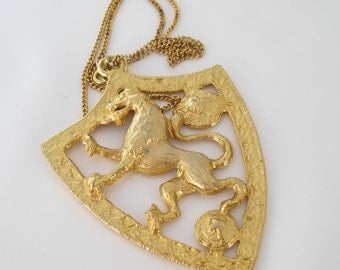Vintage Shield Necklace,  Heraldic Coat of Arms 1970s Gold Tone Jewelry