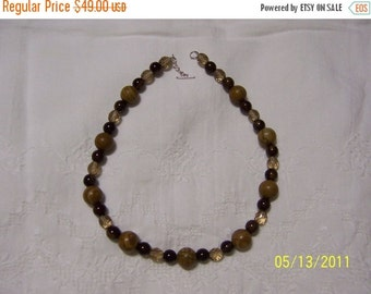 20 OFF EVERYTHING Wood Jasper, Ceramic and crystal necklace. sterling silver.