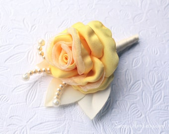 Yellow Ivory Rose Boutonniere/ Men's Wedding Boutonniere/ Handmade Accessory