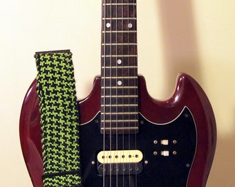 Green & Black Houndstooth Hand Woven Guitar or Bass Strap