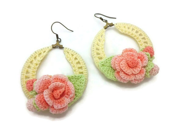 items similar to yellow crochet hoop earrings with coral