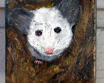 Possum Art Painting - gallery wrapped canvas - acrylic - oil - original - 4x4-Opossum