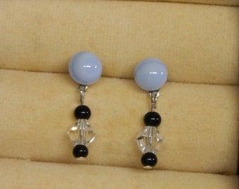 Fused Glass Earring, Light Blue Earring, Swarovski Crystal Earring, Dangle earrings, Stud earring, Post Earring, Baby Blue Earrings, Gift,