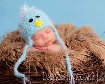 READY Baby Hat -  Baby Bird Hat Earflaps & Ties- Soooo Soft - Pink or Blue Great Texture and Flower Clip