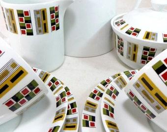 SALE! Mid Century Tea for Two Set, Retro Alfred Meakin Geometric 9-pce 'Random' Glo-White Teaset, 2 Trios, Teapot, Creamer, Sugar Bowl 1960s