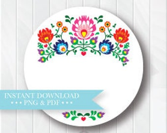 Round Printable Mexican Fiesta Favor Tag, Fiesta Baby Shower Labels, Instant Download, Fiesta Stickers, Cinco de Mayo Printables
