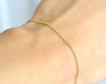 14K Gold Chain Bracelet,  Delicate Gold Bracelet, Minimum Jewelry, 14K Chain Bracelet, Minimum Jewelry, everyday jewelry - Fifi LaBonge-