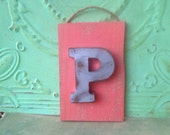 Rustic Coral and Gray Letter P Hanger, Wooden Home Decor Letter P, Gray Initial P Gallery Wall Sign