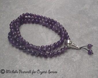108 Mala Gemstone Necklace, Gratitude Prayer Necklace Amethyst 8mm beads (108GRA0012)