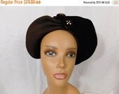Vintage 50s brown wool felt hat with rhinestone buttons