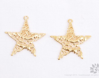 P736-MG//Matt Gold Plated Lace Star Pendant, 2 pcs