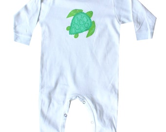 Sea Turtle Beach Baby T-Shirt Onesie...choose from green, blue or coral