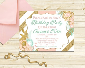 Mint, Pink and Gold Glitter Adult Birthday Party Invitation - Any Age 40th, 50th, 75th, 80th Birthday Invite