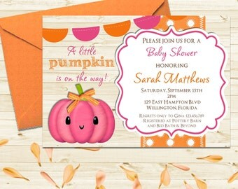 Fall Baby Shower Invitation - Little Punpkin Invite - Pink Girl Invite - Autumn Baby Shower