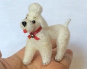 Cutie White Poodle Dog Doll Figurine  Mini Toy Miniature Vintage W. Germany NOS