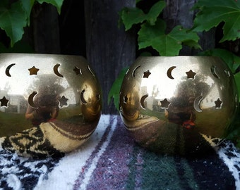 SALE\\\Vintage (2) Brass Sisters of Moon & Stars Round Candle Holders